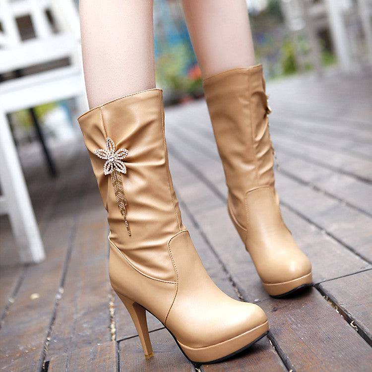 PU Pure Color High Heel Crystal Flower And Tassel Mid-calf Boots 8.5 Apricot