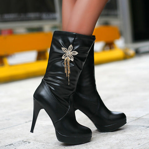 PU Pure Color High Heel Crystal Flower And Tassel Mid-calf Boots 9.5 Black