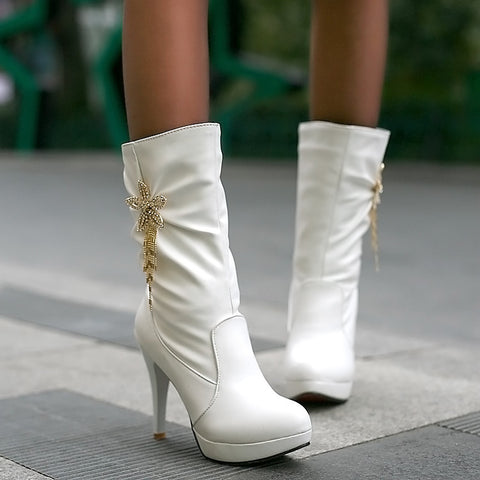 PU Pure Color High Heel Crystal Flower And Tassel Mid-calf Boots 8.5 White