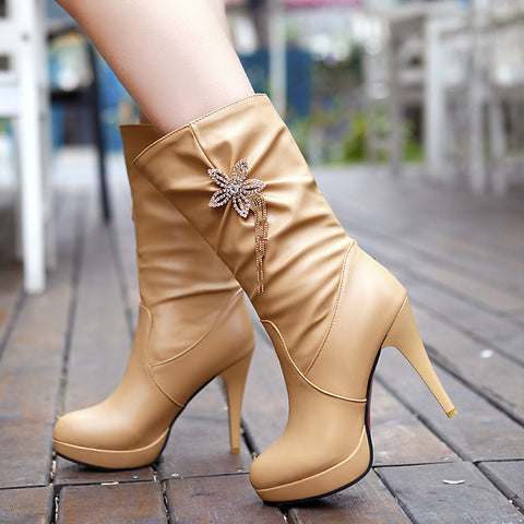 PU Pure Color High Heel Crystal Flower And Tassel Mid-calf Boots 9.5 Apricot