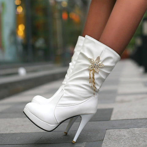PU Pure Color High Heel Crystal Flower And Tassel Mid-calf Boots 9.5 White