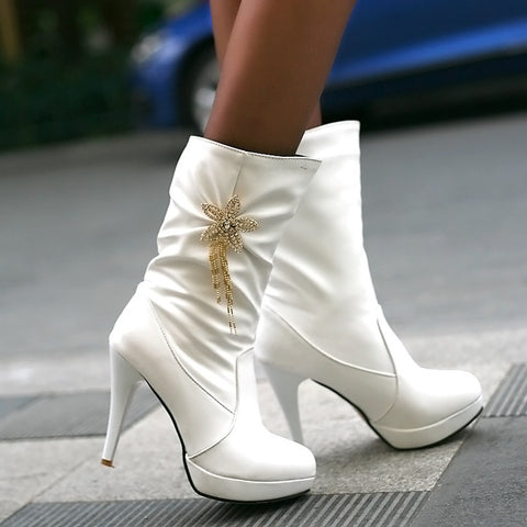PU Pure Color High Heel Crystal Flower And Tassel Mid-calf Boots 9 White