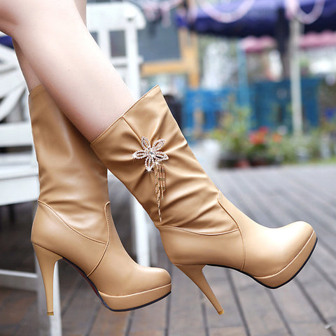 PU Pure Color High Heel Crystal Flower And Tassel Mid-calf Boots 9 Apricot