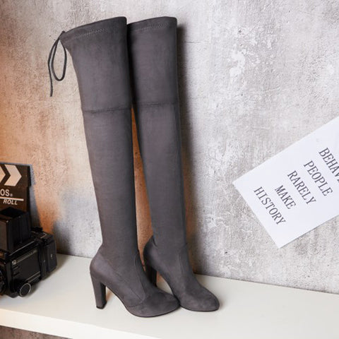 Suede Pure Color Round Toe Back Strap High Block Heel Over Knee Boots 9.5 Dim gray