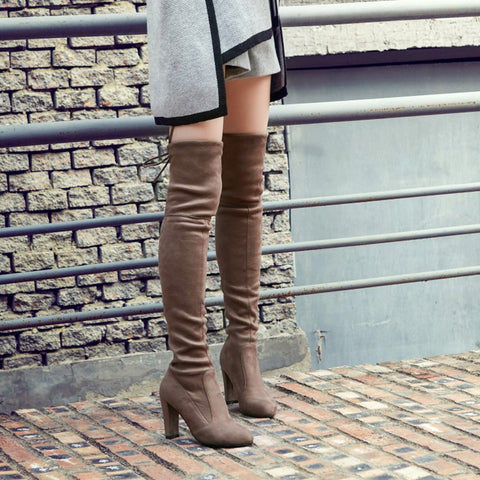 Suede Pure Color Round Toe Back Strap High Block Heel Over Knee Boots 9 Camel