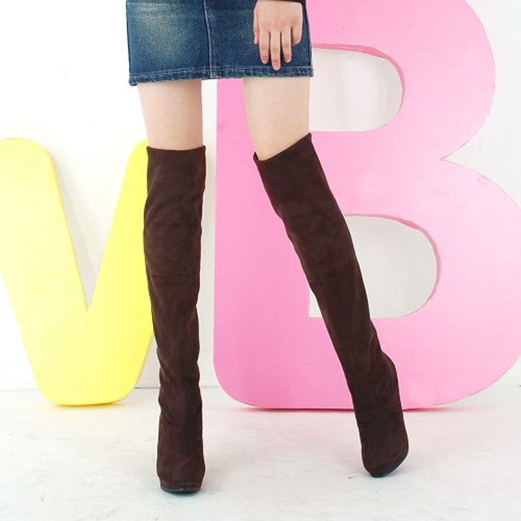 Suede Pure Color Round Toe High Cone Heel Over Knee Boots 8.5 Chocolate
