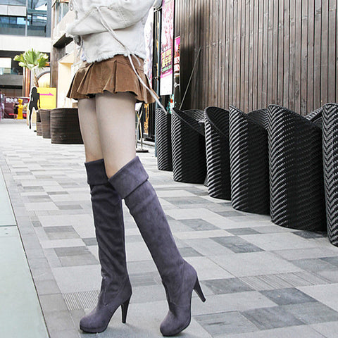 Suede Pure Color Round Toe High Cone Heel Over Knee Boots 9 Dark gray