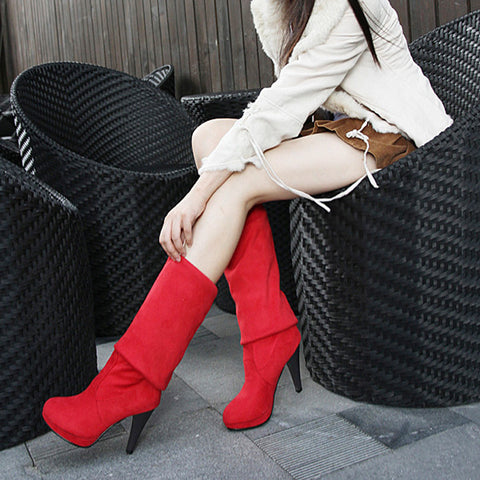 Suede Pure Color Round Toe High Cone Heel Over Knee Boots 9 Red