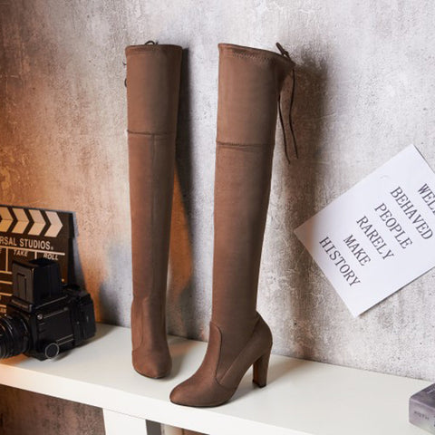 Suede Pure Color Round Toe Back Strap High Block Heel Over Knee Boots 9.5 Camel
