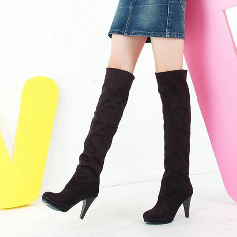 Suede Pure Color Round Toe High Cone Heel Over Knee Boots 9 Black