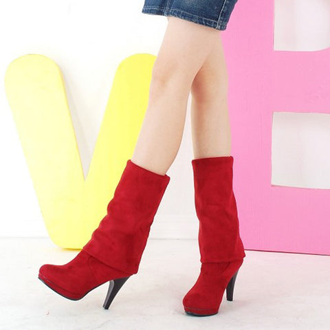 Suede Pure Color Round Toe High Cone Heel Over Knee Boots 9.5 Red