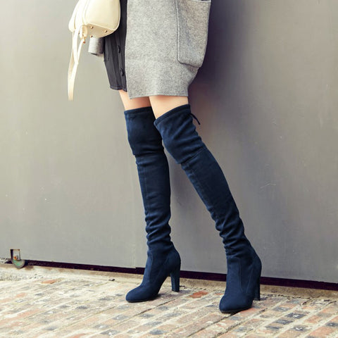 Suede Pure Color Round Toe Back Strap High Block Heel Over Knee Boots 8.5 Dark blue