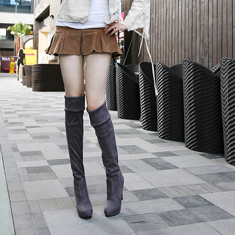 Suede Pure Color Round Toe High Cone Heel Over Knee Boots 8.5 Dark gray