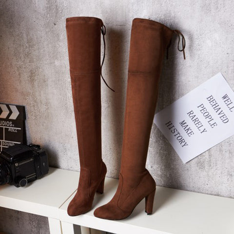 Suede Pure Color Round Toe Back Strap High Block Heel Over Knee Boots 9.5 Brown