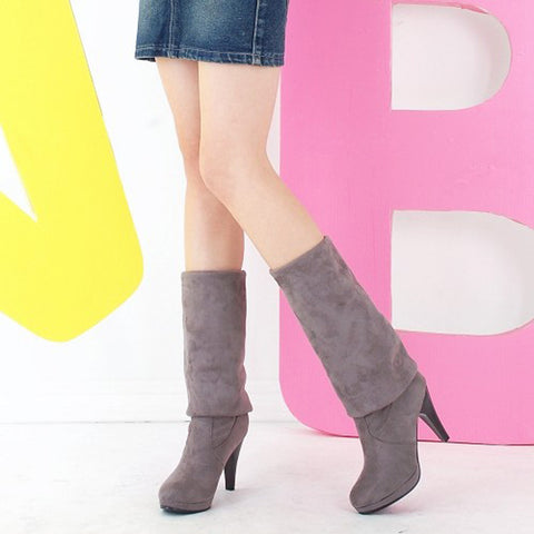 Suede Pure Color Round Toe High Cone Heel Over Knee Boots 9.5 Dark gray