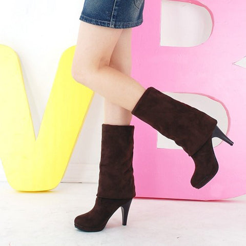 Suede Pure Color Round Toe High Cone Heel Over Knee Boots 9.5 Chocolate