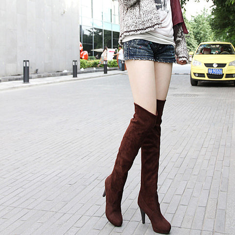 Suede Pure Color Round Toe High Cone Heel Over Knee Boots 9 Chocolate