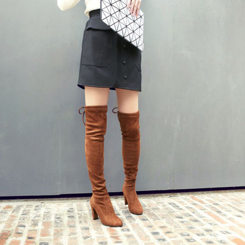 Suede Pure Color Round Toe Back Strap High Block Heel Over Knee Boots 9 Brown