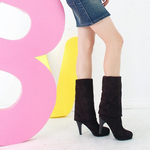 Suede Pure Color Round Toe High Cone Heel Over Knee Boots 9.5 Black