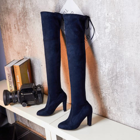 Suede Pure Color Round Toe Back Strap High Block Heel Over Knee Boots 9.5 Dark blue