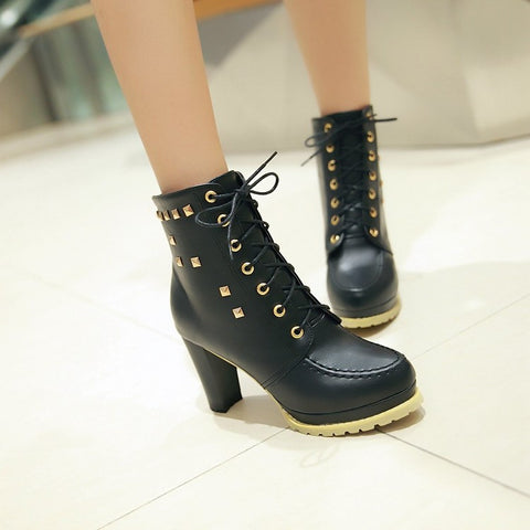 PU Pure Color Round Toe High Block Heel Rivet Lace Up Ankle Boots 41 Black