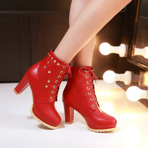 PU Pure Color Round Toe High Block Heel Rivet Lace Up Ankle Boots 42 Red