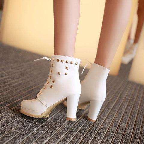 PU Pure Color Round Toe High Block Heel Rivet Lace Up Ankle Boots 43 White