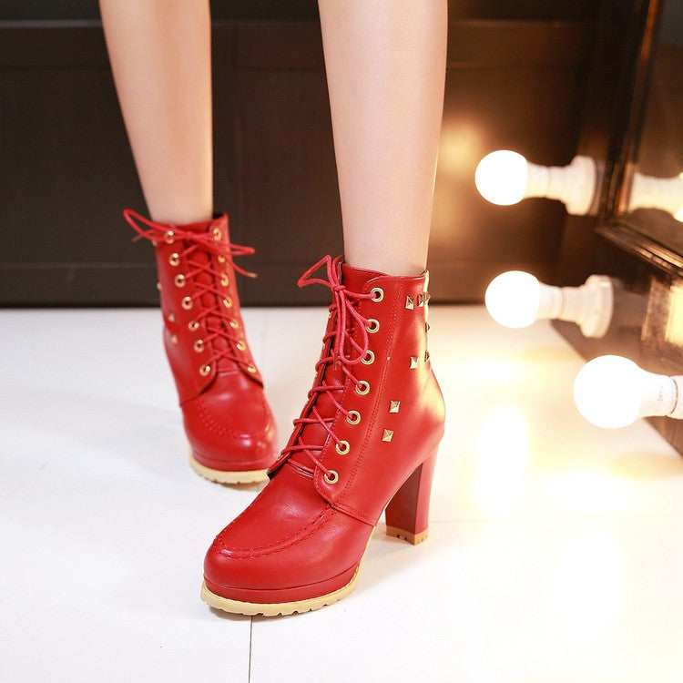 PU Pure Color Round Toe High Block Heel Rivet Lace Up Ankle Boots 41 Red