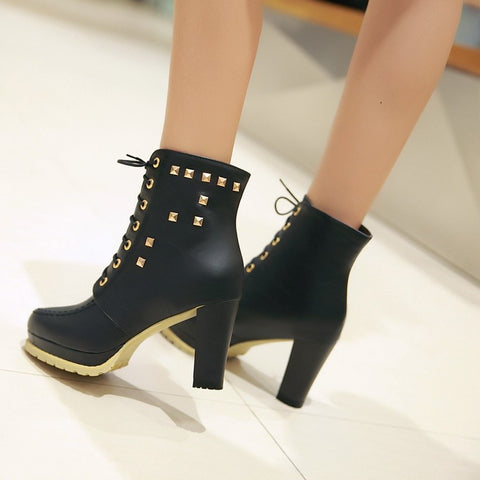 PU Pure Color Round Toe High Block Heel Rivet Lace Up Ankle Boots 43 Black