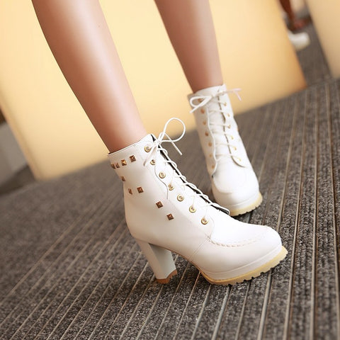PU Pure Color Round Toe High Block Heel Rivet Lace Up Ankle Boots 41 White