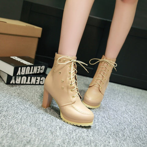 PU Pure Color Round Toe High Block Heel Rivet Lace Up Ankle Boots 41 Wheat