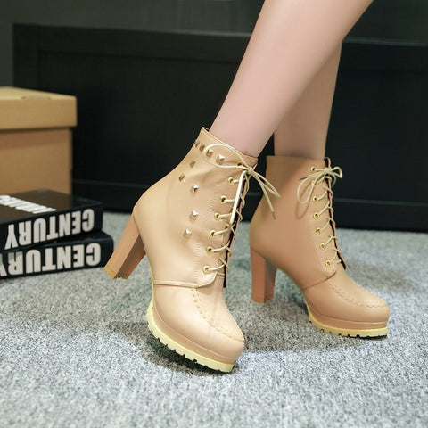 PU Pure Color Round Toe High Block Heel Rivet Lace Up Ankle Boots 42 Wheat