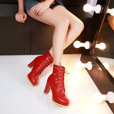 PU Pure Color Round Toe High Block Heel Rivet Lace Up Ankle Boots 43 Red