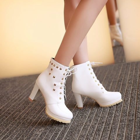 PU Pure Color Round Toe High Block Heel Rivet Lace Up Ankle Boots 42 White