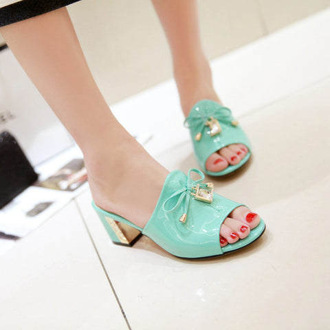 Leather Open Toe Metallic Block Heel Crystal Bow Mules 7 Cyan