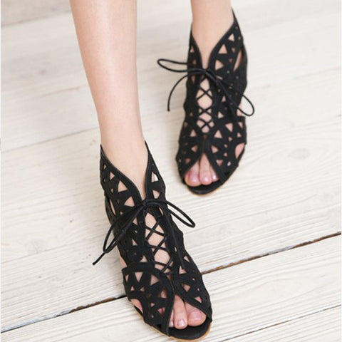 Leather Pure Color Peep Toe Wedge Heel Back Zipper Hollow-carved Sandals With Lace Up 9.5 Black