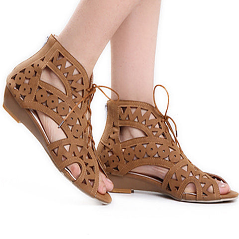 Leather Pure Color Peep Toe Wedge Heel Back Zipper Hollow-carved Sandals With Lace Up 9 Brown