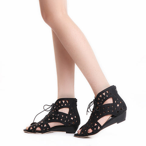 Leather Pure Color Peep Toe Wedge Heel Back Zipper Hollow-carved Sandals With Lace Up 9 Black