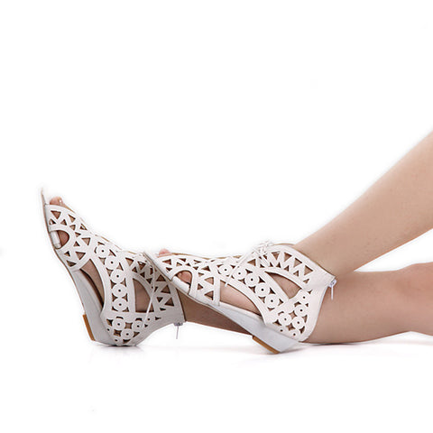 Leather Pure Color Peep Toe Wedge Heel Back Zipper Hollow-carved Sandals With Lace Up 9 White