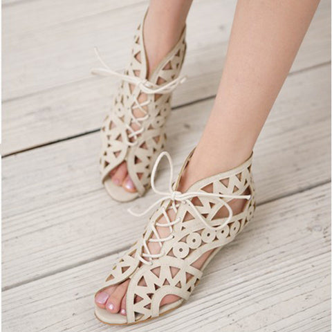 Leather Pure Color Peep Toe Wedge Heel Back Zipper Hollow-carved Sandals With Lace Up 9.5 White