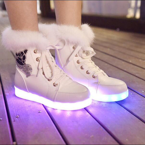 Rechargeable Leather Round Toe Lace Up Crystal Fox Led Sneakers 8 White