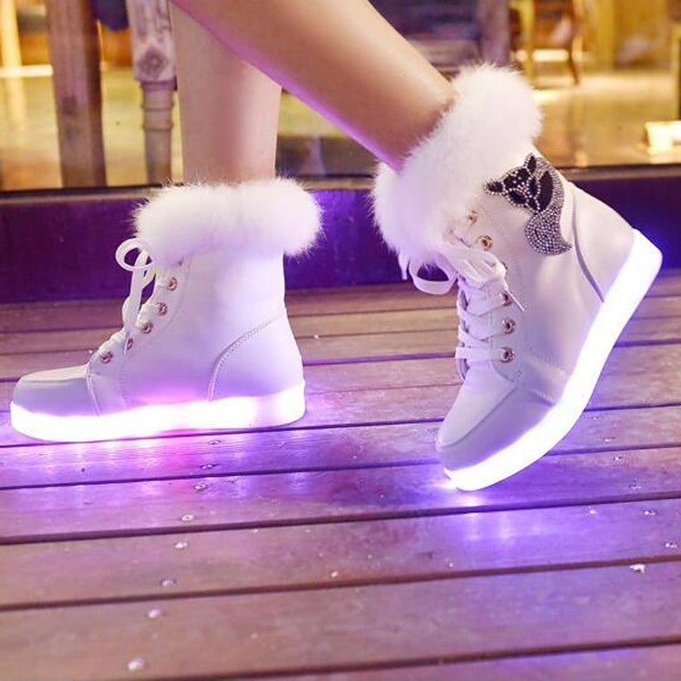 Rechargeable Leather Round Toe Lace Up Crystal Fox Led Sneakers 8.5 White