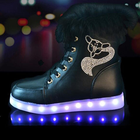Rechargeable Leather Round Toe Lace Up Crystal Fox Led Sneakers 8 Black
