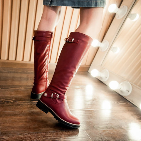 PU Pure Color Round Toe Low Heel Side Zipper Knee High Boots 9.5 Red