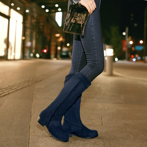 Suede Pure Color Round Toe Low Heel Woven Decoration Knee High Boots 9.5 Blue