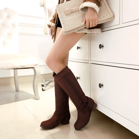 Suede Pure Color Round Toe Low Heel Woven Decoration Knee High Boots 9 Chocolate