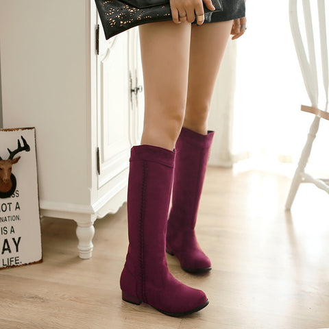 Suede Pure Color Round Toe Low Heel Woven Decoration Knee High Boots 9.5 Dark red