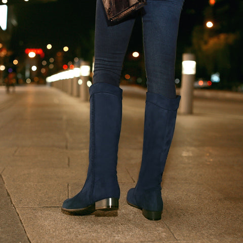 Suede Pure Color Round Toe Low Heel Woven Decoration Knee High Boots 9 Blue