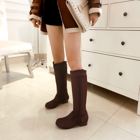 Suede Pure Color Round Toe Low Heel Woven Decoration Knee High Boots 9.5 Chocolate
