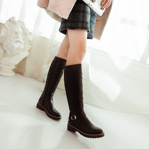 PU Pure Color Round Toe Low Heel Side Zipper Knee High Boots 9 Black